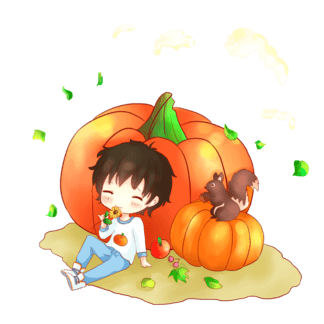 秋季<i>卡</i><i>通</i>南瓜<i>男</i><i>孩</i>人物插画