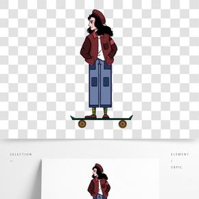 卡通手繪滑板酷女孩