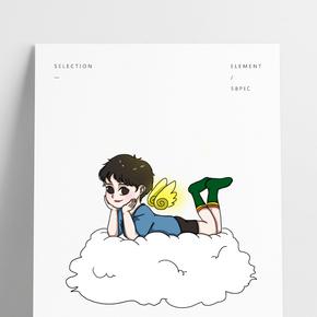 卡通手繪云朵上的小天使