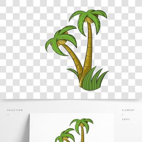 卡通手繪椰子樹插畫貼圖