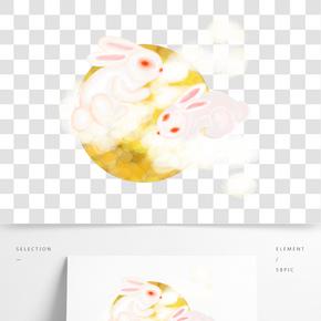 中國風水墨水彩中秋節雙兔呈祥原創手繪