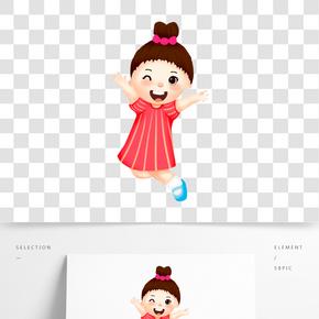 女孩跳躍開學季兒童紅裙子卡通人物插畫