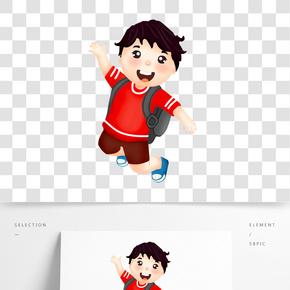 背書包男孩短袖兒童節小報卡通人物學生插畫