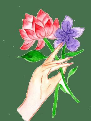 手绘水彩花朵插画