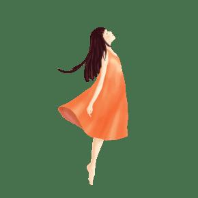 手绘身穿红色连衣裙的梦幻女孩