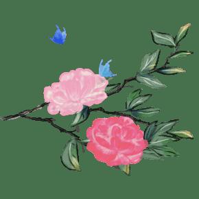 手绘粉色花朵水粉插画