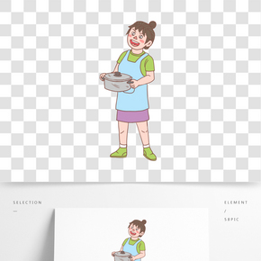 美食餐飲廚娘手繪卡通人物06