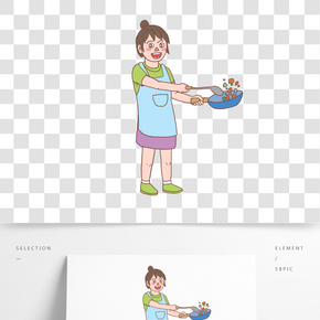 美食餐飲廚娘手繪卡通人物02