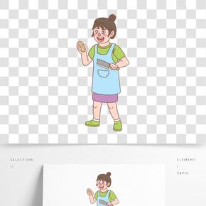 美食餐飲廚娘手繪卡通人物04