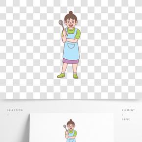美食餐飲廚娘手繪卡通人物03