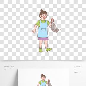 美食餐飲廚娘手繪卡通人物05