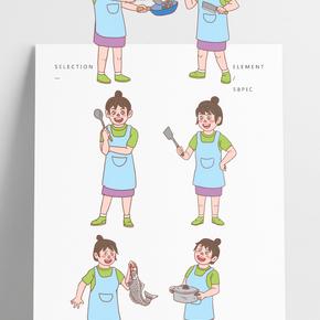 美食餐飲廚娘手繪卡通人物