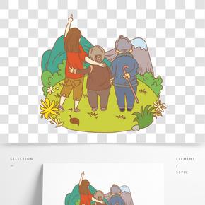 重陽節陪伴父母觀賞菊花插畫