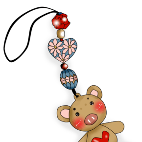 卡通手绘厚涂小熊精致吊坠手机装饰PNG