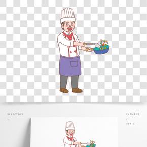 美食餐飲廚師手繪卡通人物02