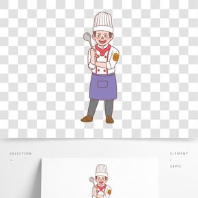 美食餐飲廚師手繪卡通人物03