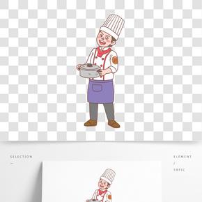 美食餐飲廚師手繪卡通人物06