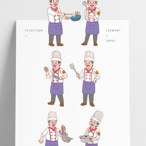 美食餐飲廚師手繪卡通人物