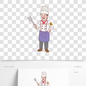 美食餐飲廚師手繪卡通人物01