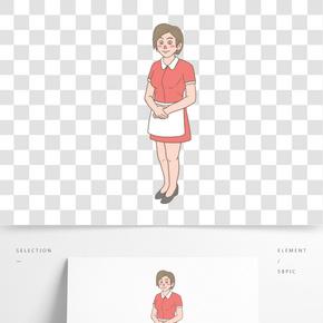 美食餐飲服務員手繪卡通人物03