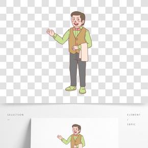 美食餐飲服務員手繪卡通人物01