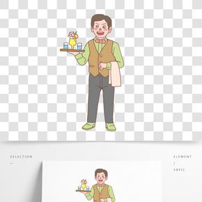 美食餐飲服務員手繪卡通人物02