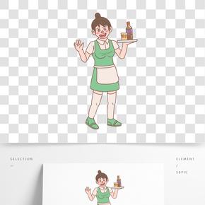 美食餐飲服務員手繪卡通人物05