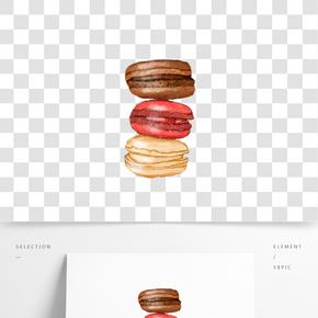 重陽節糕點點心馬卡龍甜品手繪插畫免扣素材