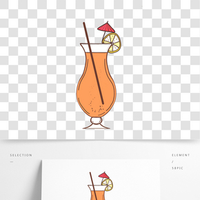 下午茶果汁手繪插畫貼圖