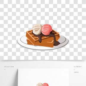 甜品 華夫餅手繪插畫