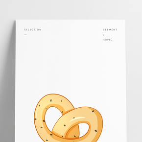 甜點烘焙心面包插畫