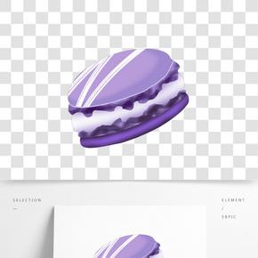紫色馬卡龍手繪插畫