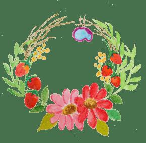 水彩花朵花藤边框插画