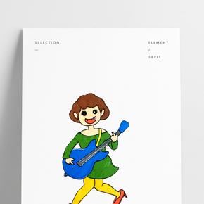 音樂節撞色搭配手繪插畫風彈貝斯的女孩PNG免摳圖
