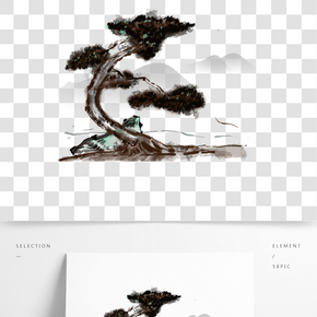 古樹和遠處的山中國水墨風插畫