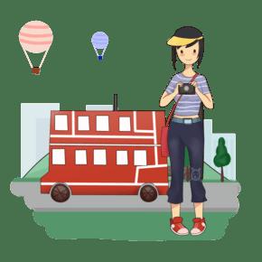 女孩子旅游手绘插画