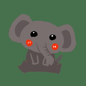 手绘可爱大象卡通动物插画