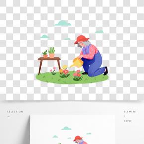 重陽節老人澆菊花綠色系卡通手繪免摳促銷海報