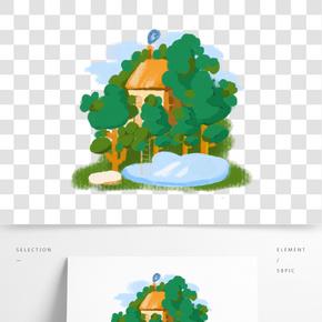 森林小木屋綠色系卡通手繪風格裝飾