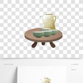 中國傳統茶藝養生插畫