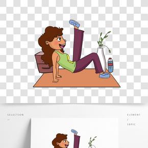 健身減肥女人手繪插畫