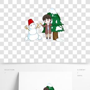 冬天小男孩雪人手繪插畫