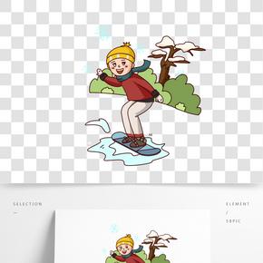 卡通手繪男孩室外滑雪插畫