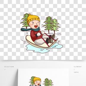 卡通手繪男孩滑雪橇插畫