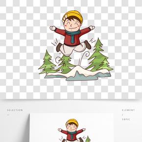 卡通手繪男孩冬季玩樂插畫
