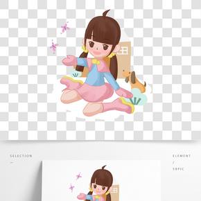 卡通手繪少女室外玩樂插畫