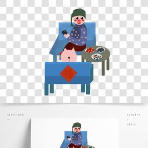 豬年暖色系卡通手繪風可愛豬打游戲