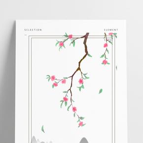 中國風紅桃花方形邊框手繪免摳
