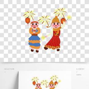 豬年暖色系卡通手繪風可愛豬放煙花