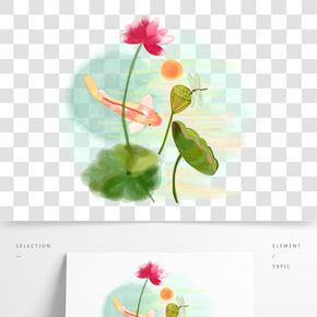 中國風水墨水彩工筆年年有余原創手繪免摳高清圖